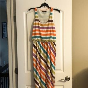 THML multi colored striped maxi dress, size M